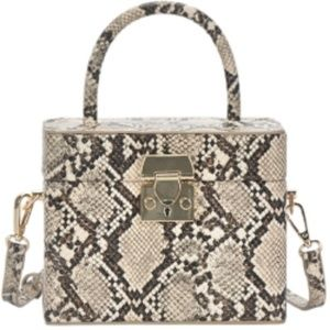 FAUX SNAKESKIN MINI BOX HANDBAG